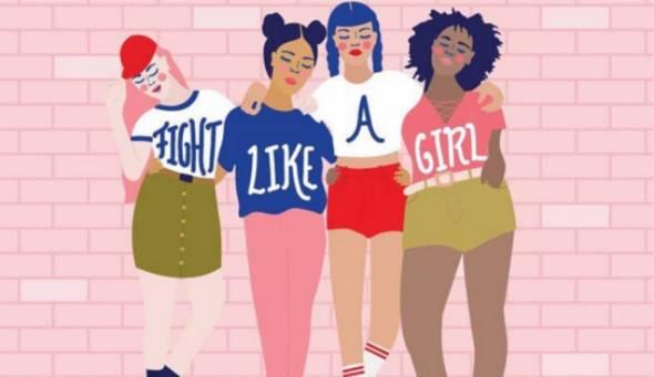 Ilustração da artista costa-riquenha Jessica Fernández 4 bonecas com a camisetas escritas, fight, like, a e girl