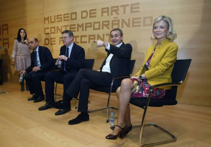 Desde la derecha, Bravo, Zapatero, Puig y Echávarri en febrero en Alicante.