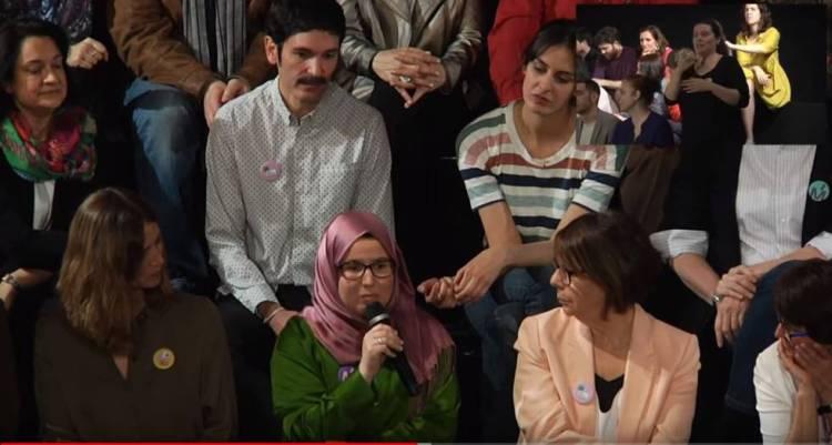 Maysoun Douas durante la presentación de candidatos de Más Madrid para la Comunidad y el Ayuntamiento de Madrid.