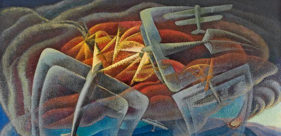 Gerardo Dottori, 'Batalla aérea sobre el golfo de Nápoles', 1942.