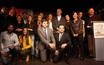 Artistas y organizadores de la Bienal de Flamenco de Sevilla, este lunes en Madrid.