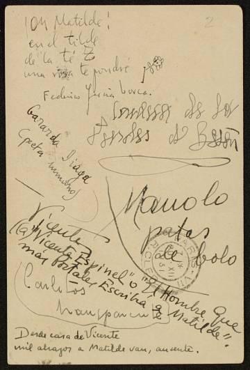 Tarjeta postal de 1931 dedicada a la hispanista por Lorca, Diego, Altolaguirre, Aleixandre..