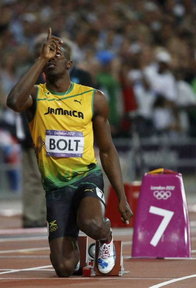 Bolt, en las final del 200m en Londres 2012.