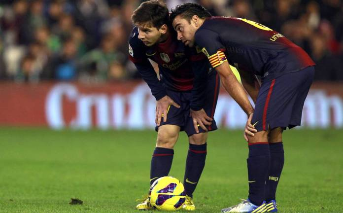 Xavi and Messi, in a Betis-Barça, in 2012.