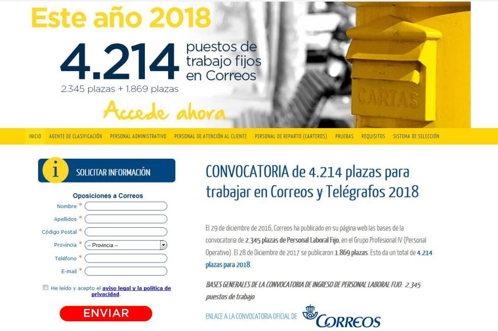 Captura de una web que imita la tipografía y la imagen corporativa de Correos.