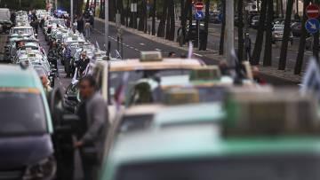 Concentración de taxis en Lisboa.