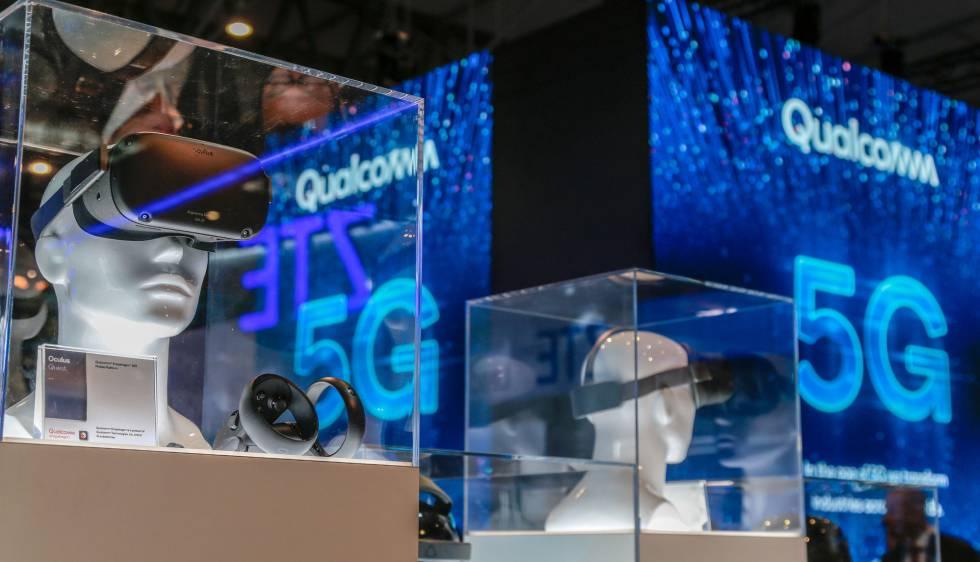 Gafas de realidad virtual 5G de Qualcomm en el MWC19.