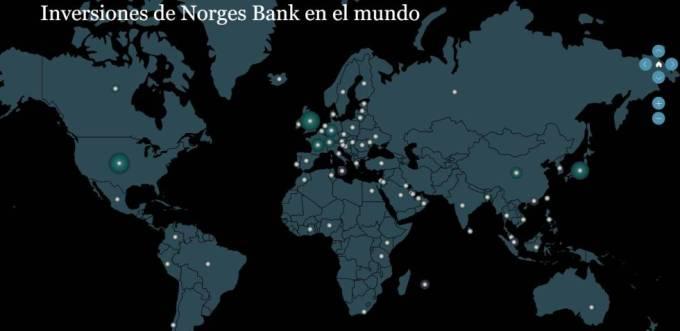 Mapa de inversiones del Banco Central de Noruega