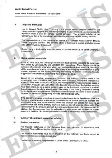 Documento de los estados financieros de Law in Context Pte. Ltd elaborado por la consultora Ernst & Young.