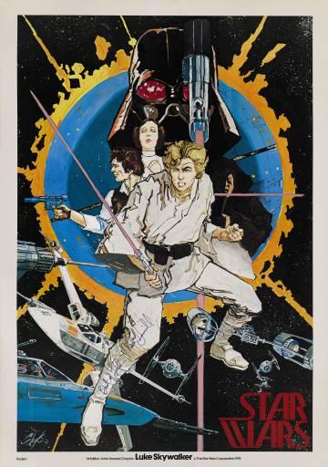 Póster de Star Wars de Howard Chaykin, realizado en 1976 y firmado por Mark Hamill, con un precio estimado entre 6.000 y 9.000 euros.