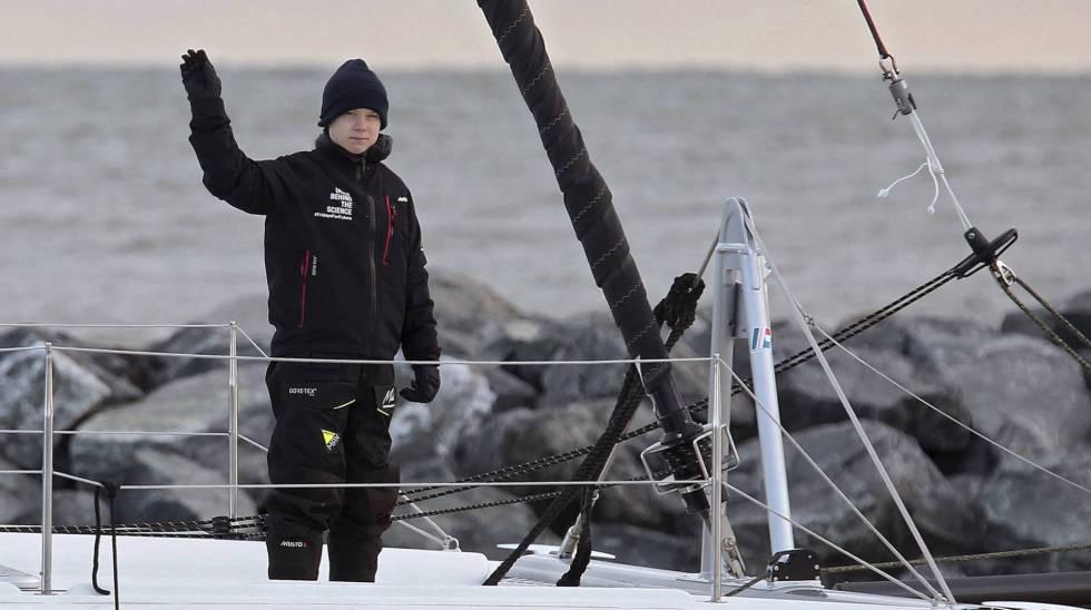 Greta Thunberg, a bordo del catamarán que la trajo a la cumbre del clima.