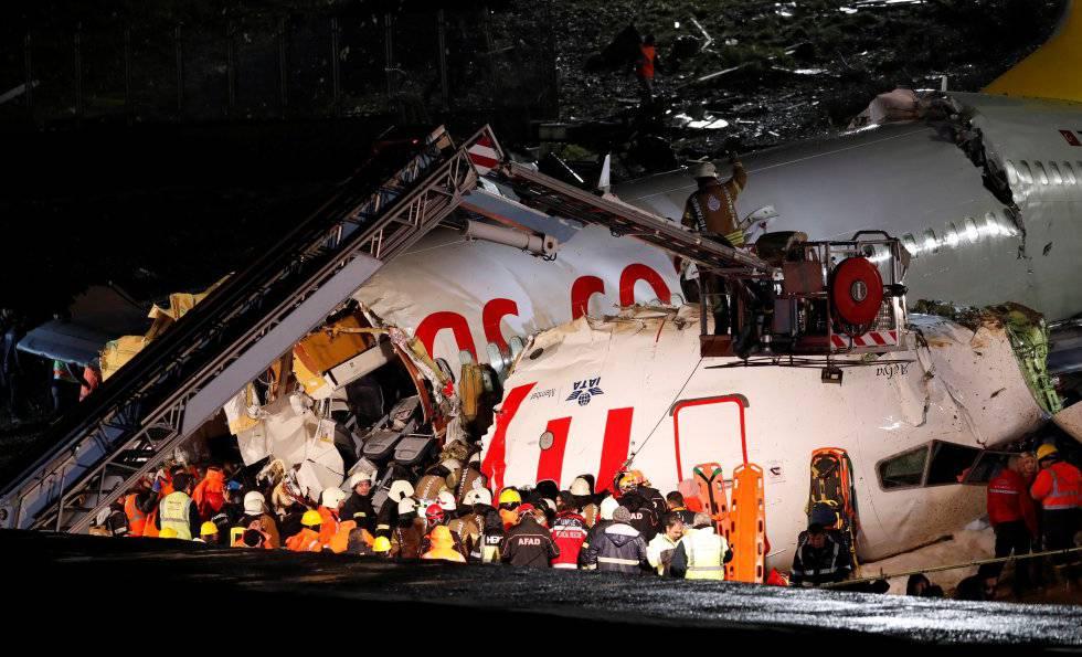 Avión siniestrado de la aerolínea turca Pegasus, tras salirse de la pista de aterrizaje del aeropuerto de Estambul.