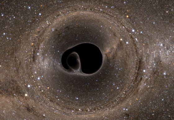 Representación de la colisión de dos agujeros negros
