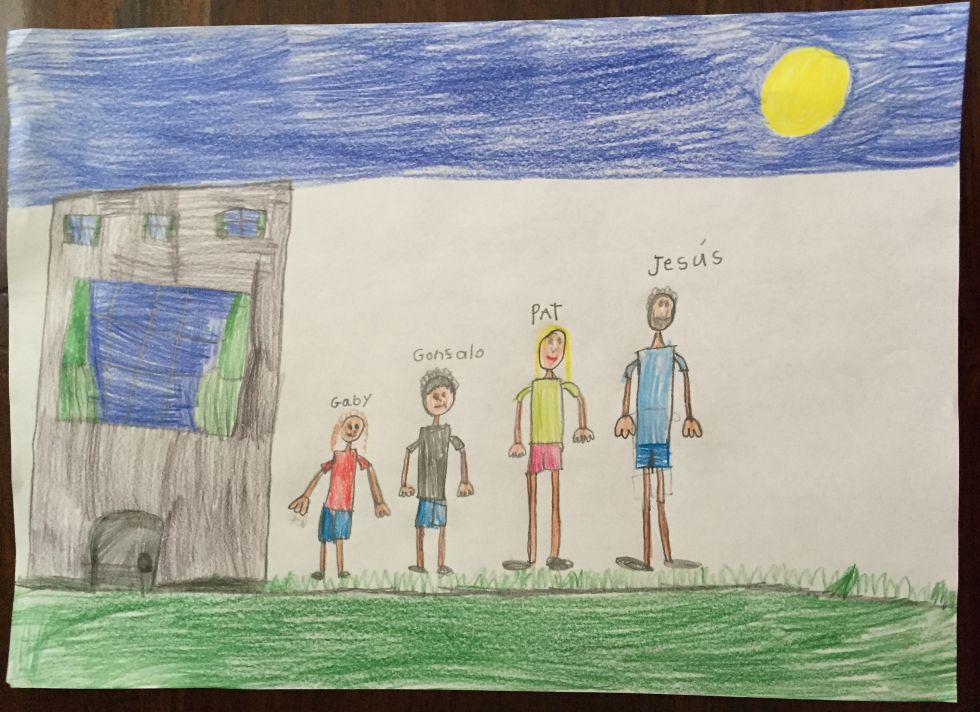 Dibujo de familia de niña de 5 años.