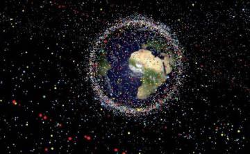 Representación de la basura espacial hecha por la ESA.