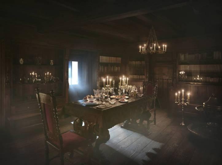 Recreación del comedor del castillo de Bran, en Transilvania.