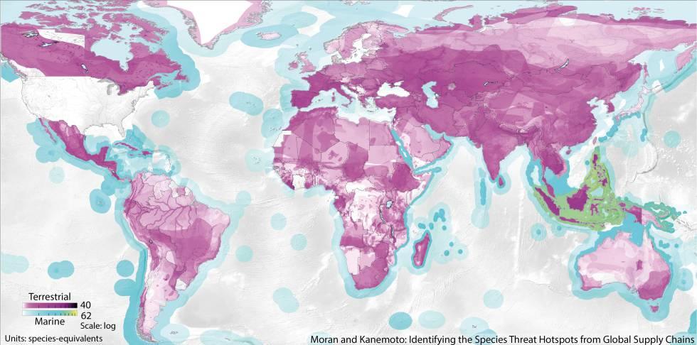 Mapa dos lugares com espécies ameaçadas em relação com o consumo de bens nos EUA.