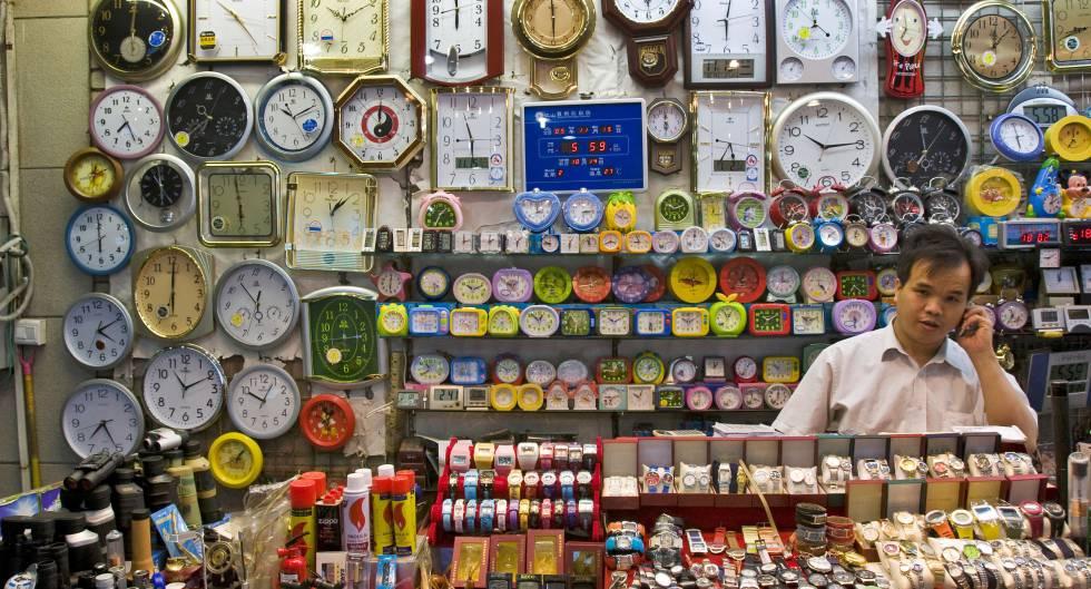 Una tienda de relojes en la frontera entre Macao y Zhuzhai.