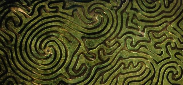 Vista aérea del laberinto del Longleat en Wiltshire, Inglaterra.