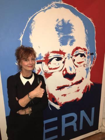 Susan Sarandon apoyando al candidato del Partido Demócrata Bernie Sanders en 2016.
