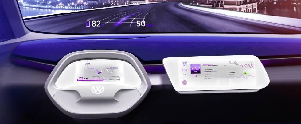 Salpicadero del Volkswagen ID Crozz Concept con realidad aumentada en el cristal frontal.
