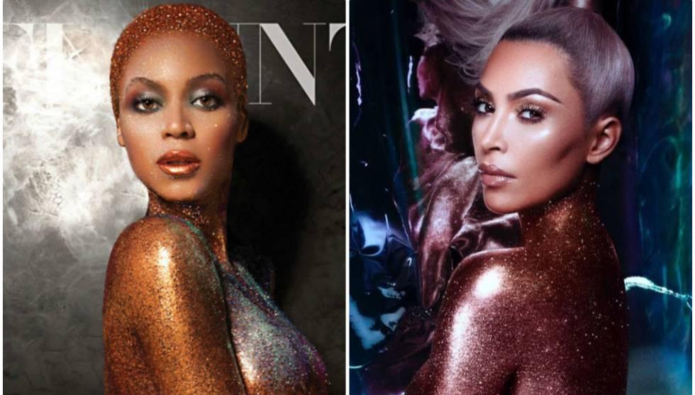Beyoncé como portada de la revista 'Flaunt' en 2013 (izq.) y Kim Kardashian en su Instagram (dcha.).