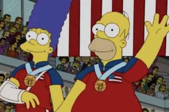 Los Simpson y su medalla de oro para Estados Unidos en la categoría de curling, una escena que se hizo realidad años después.