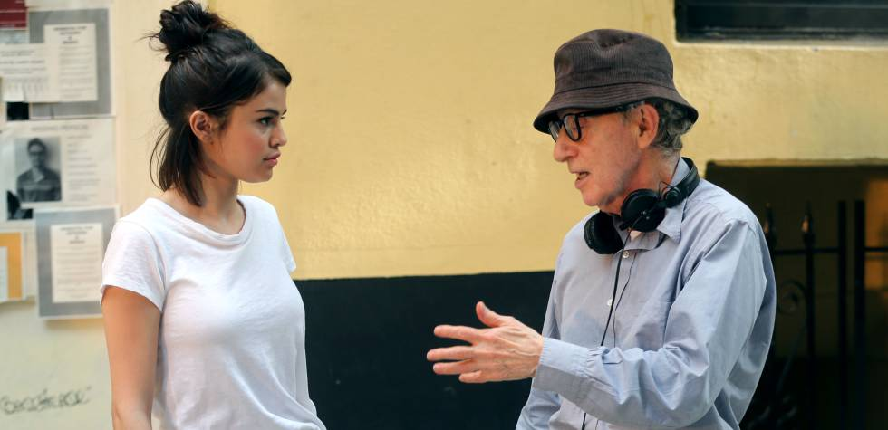 Selena Gomez y Woody Allen durante el rodaje de 'A rainy day in New York'.