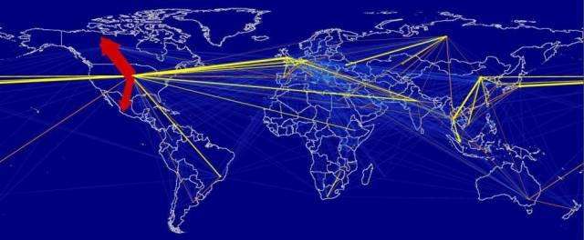 Mapa con el flujo de la huella de carbono del transporte aéreo. Los colores indican el mayor (amarillo) o menor (azul) peso en el total. El 23% de las emisiones turísticas proceden del transporte aéreo.