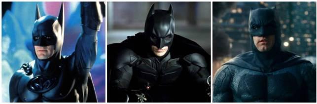 De izquierda a derecha, tres actores que interpretaron a Batman: George Clooney (1997), Christian Bale (2012) y Ben Affleck (2017)
