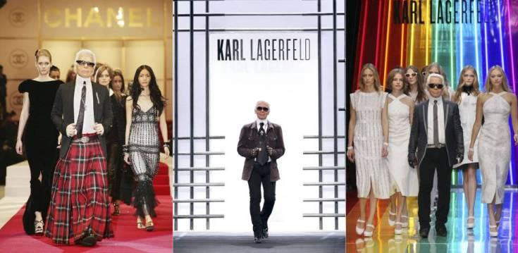 Karl Lagerfeld, en algunos de sus desfiles.