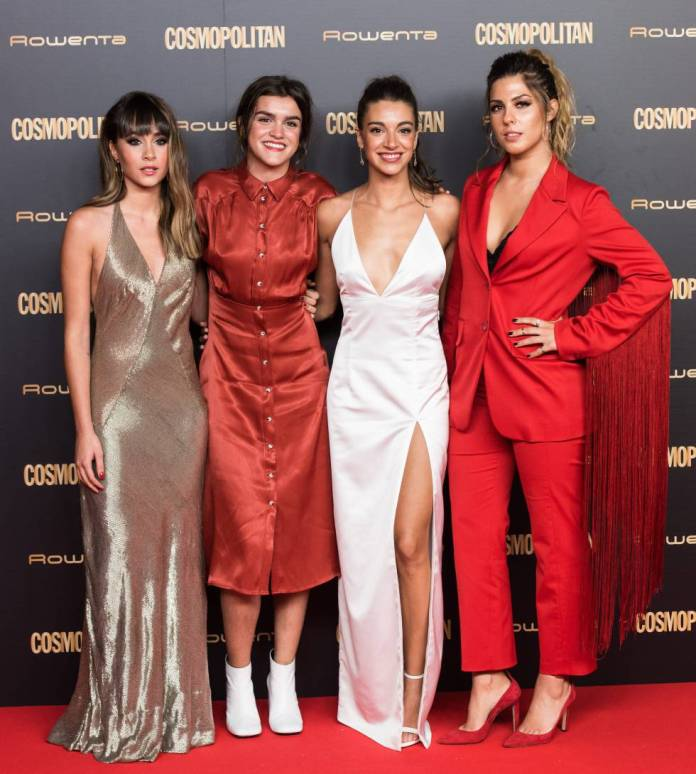 Amaia Romero (second) accompanied by his companions 'Opeación triumph' Aitana, Anne, and Miriam posing on the red carpet of the awards 'Cosmopolitan'.