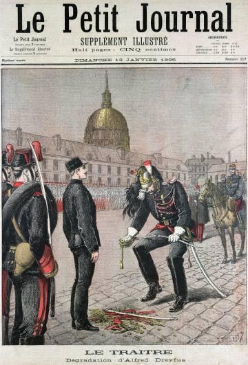 portada de periódico que alude a la condena del capitán Dreyfus (1895).