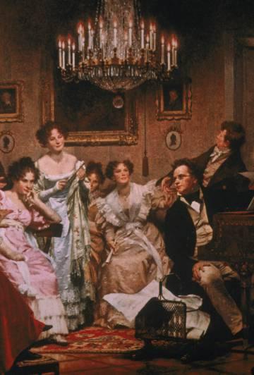 Schubert en una pintura que le representa rodeado de mujeres.