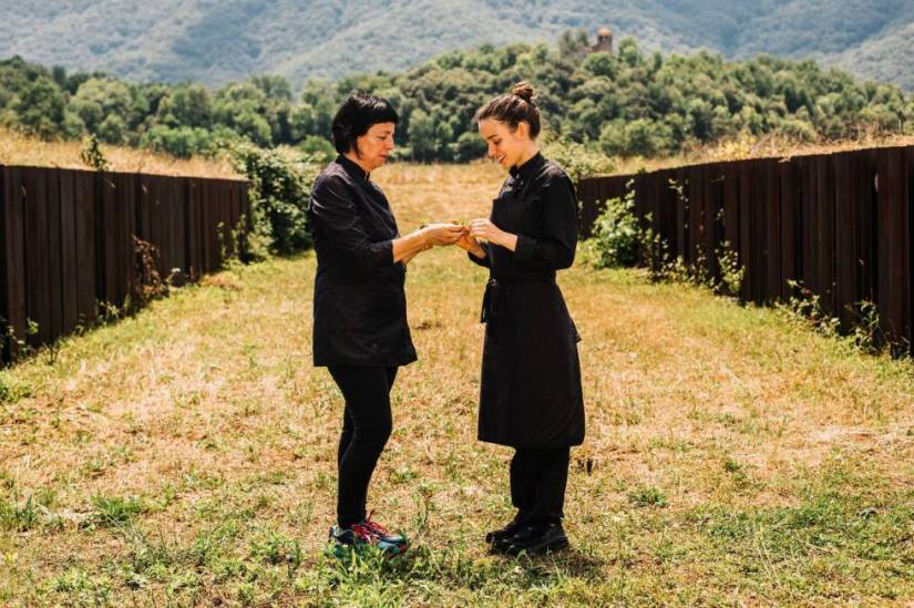 Fina Puigdevall and her chef, Martina Puigvert, from Les Cols (Olot, Girona).