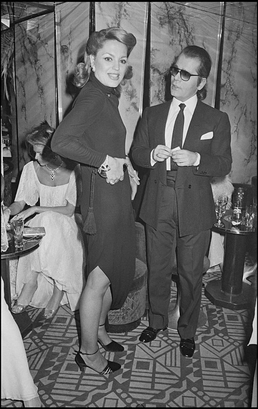 Ira De Furstenberg and Karl Lagerfeld during a party at the Regine in Paris in 1978.