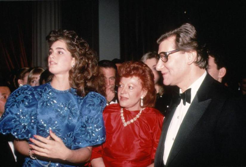 Brooke Shields, Regine and Yves Saint Laurent in New York in 1983.