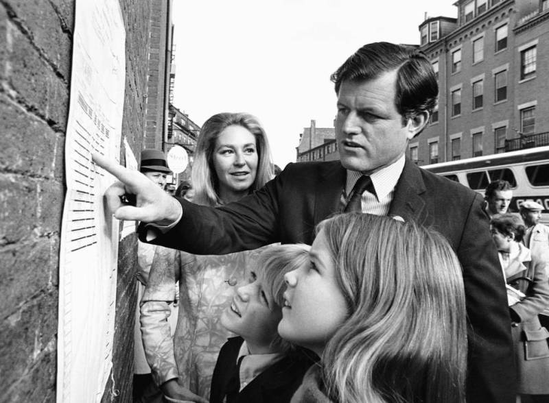 Ted Kennedy with his sons Teddie and Kara and his wife Joan in Boston in 1970.