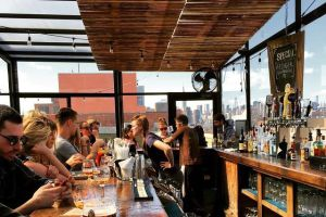 Rooftop of the Berry Park pub, near McCarren Park, in Greenpoint, New York.