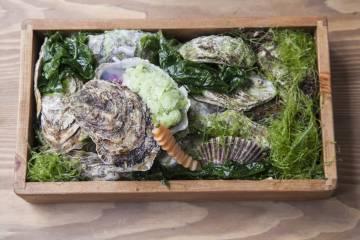 Ostra con granizado de algas y berros aliñada con ají limo y lima.