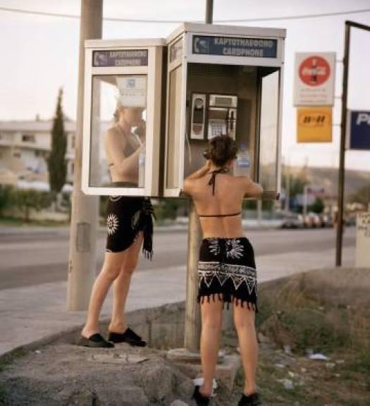 Una cabina de teléfono en la isla griega de Rodas, en 1999.