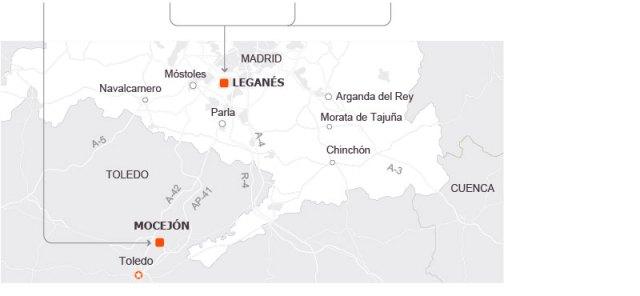 Mapa de Madrid y Leganés