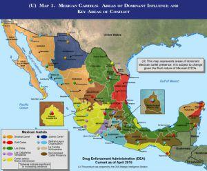 Mapa de los territorios de los cárteles mexicanos de la droga