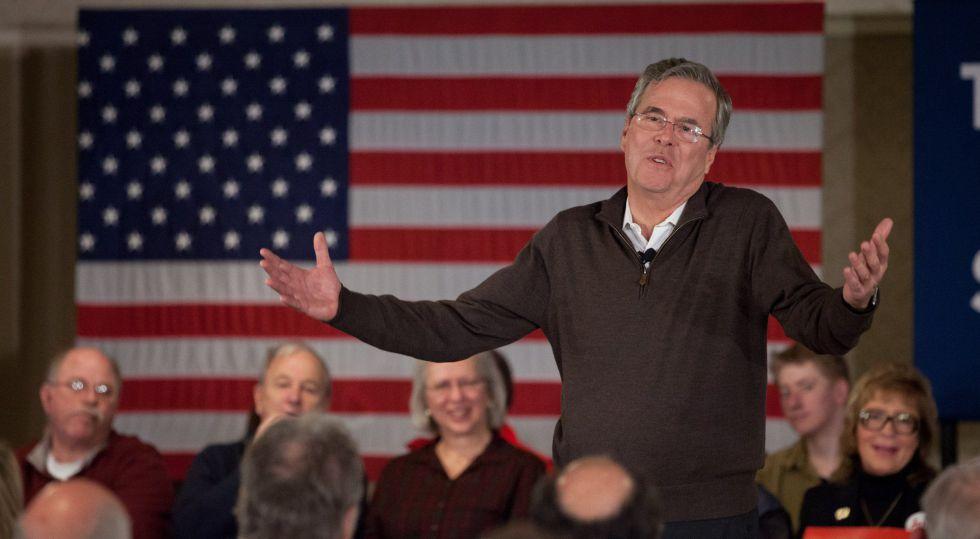El candidato presidencial republicano Jeb Bush este miércoles en New Hampshire.