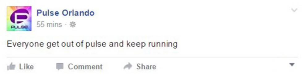 Mensaje con el que el club ha pedido a sus clientes a través de Facebook que salgan corriendo del edificio.