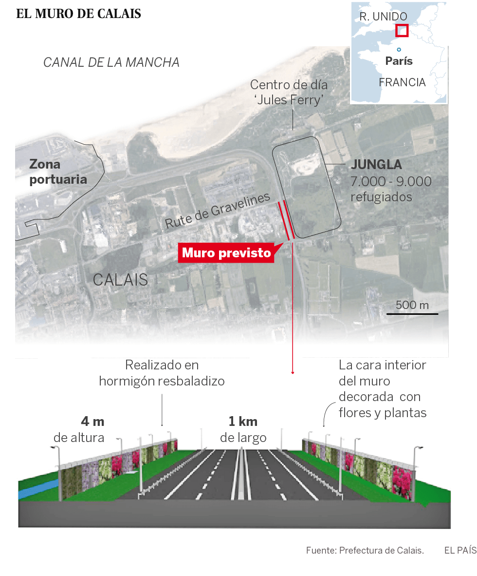 Francia construirá un muro junto a 'La Jungla' de Calais para impedir el paso de migrantes