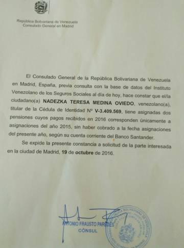 El Consulado de Venezuela en Madrid ha accedido a certificar que los jubilados no están recibiendo los pagos correspondientes a 2016.