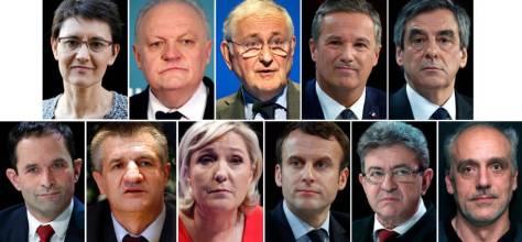 Los once candidatos que concurrirán en la primera vuelta de las presidencias francesas.