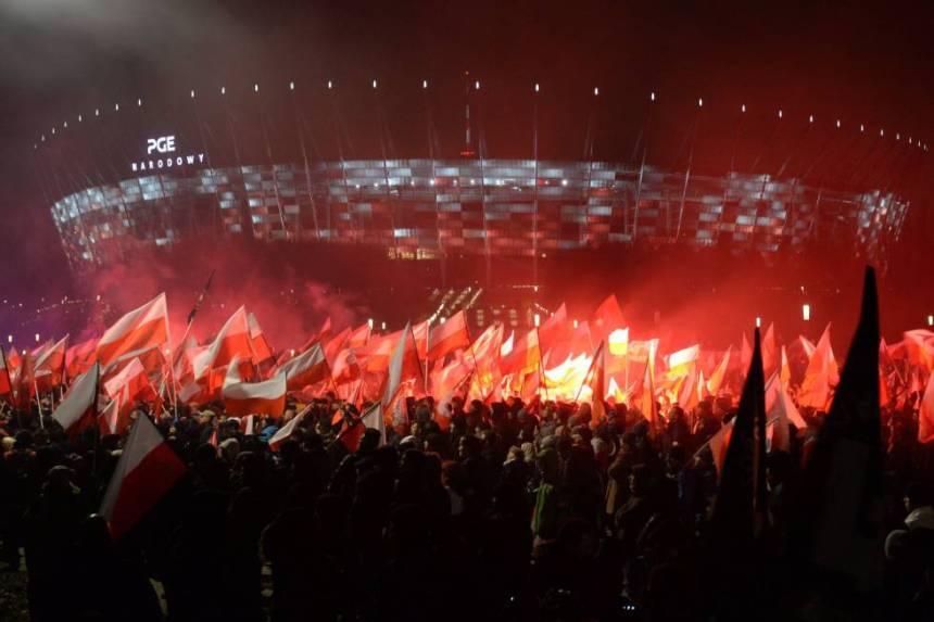 Manifestación nacionalista en Varsovia este sábado.