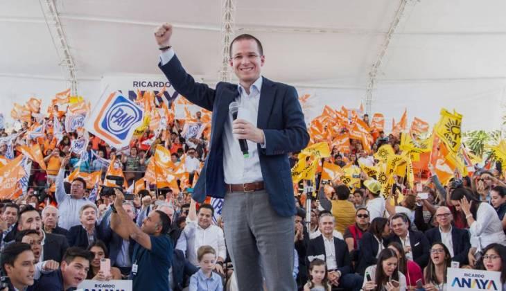 Ricardo Anaya, el candidato de Por México al Frente, en un acto el domingo